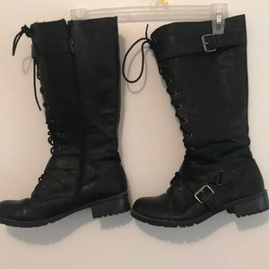 Shoes - Black front lace boots( for show)
